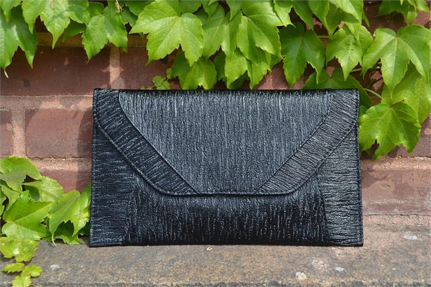Black Metallic Envelope Purse