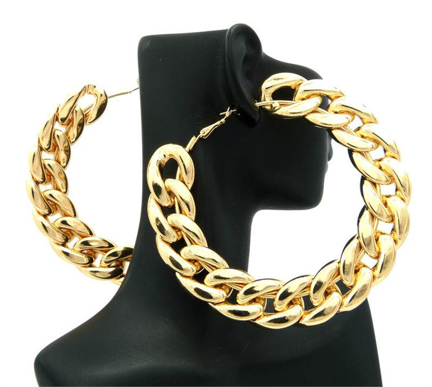 Gold Rope Chain Hoop Earrings