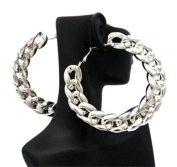 Silver Rope Chain Hoop Earrings