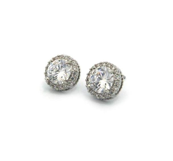 Diamond Cluster Silver Cubic Stud Earrings
