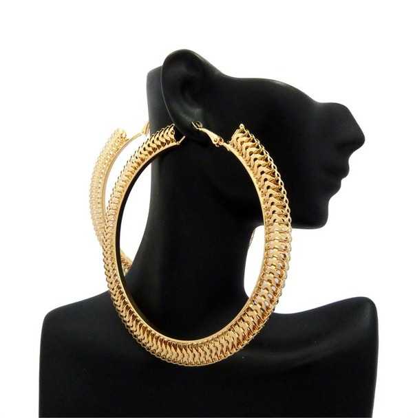 Gold Geometric Thin Hoop Earrings