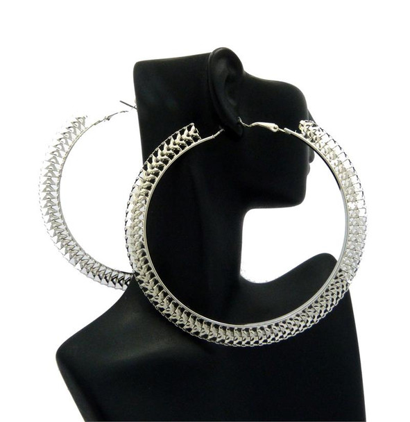 Silver Geometric Thin Hoop Earrings