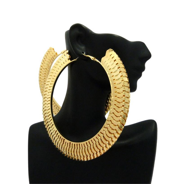 Gold Interlock Thick Hoop Earrings