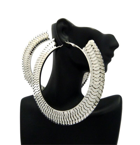 Silver Interlock Hoop Earrings