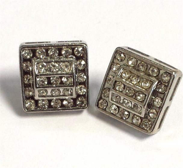 25 Stone Rounded Square Silver Stud Earrings