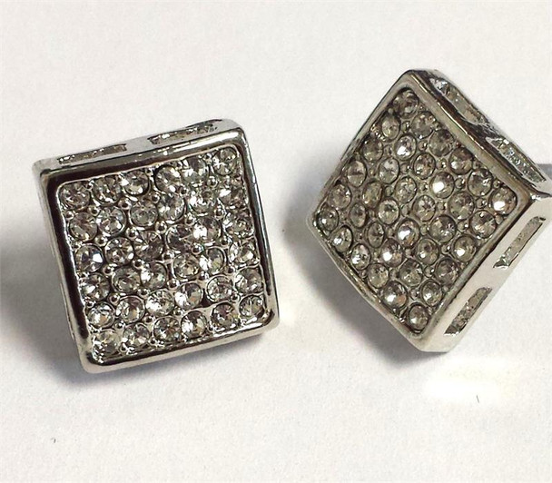 36 Stone Open Side Earrings Silver Square Earrings