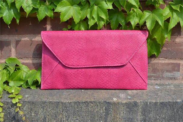 Fuchsia Snakeskin Envelope Clutch Purse