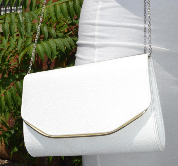 Summer White Gold Trim Purse