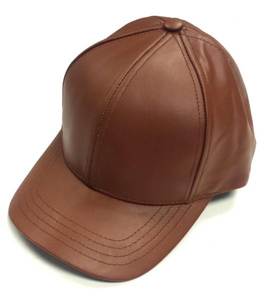 Brown Leather Baseball Cap