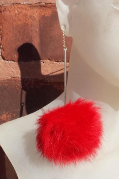 Red Fur Ball Earrings