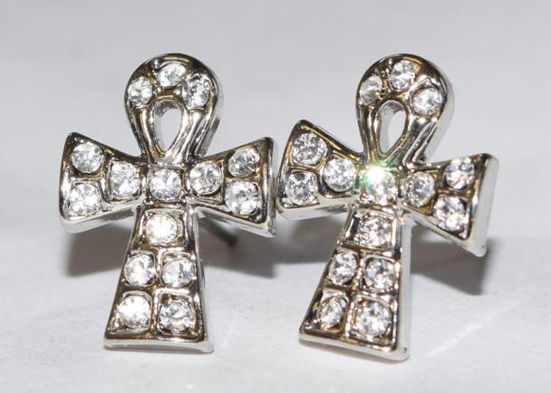Silver Ankh Cross Stud Earrings