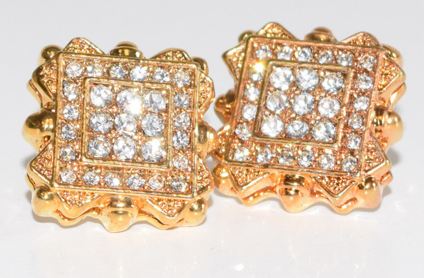 8 Edged Square Gold Studs