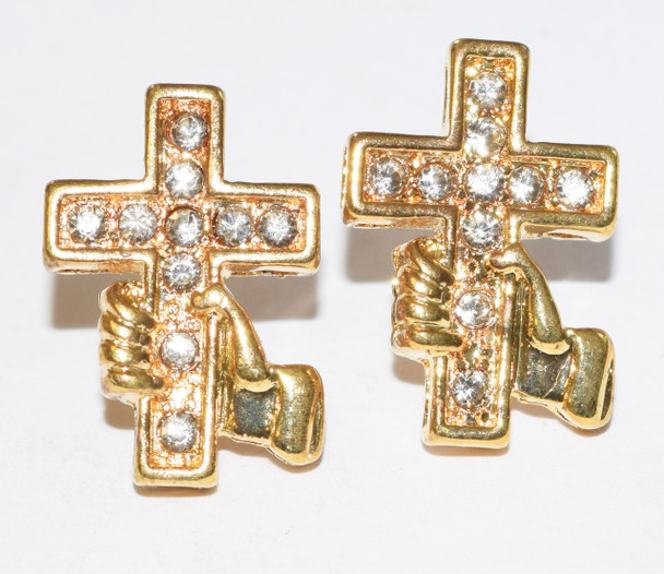 Gold Hold On To The Cross Studs