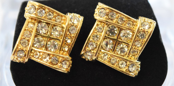 Gold Cubed Stud Earrings
