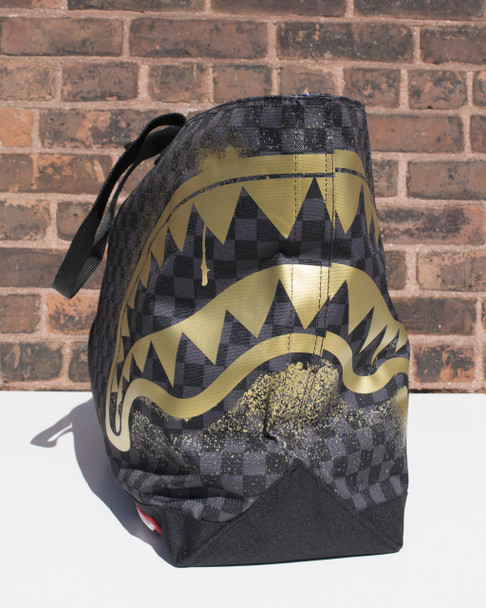 Sprayground Gold Stencil Checkered Shark Tote Bag