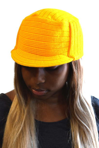 Yellow Knit Hat with Visor