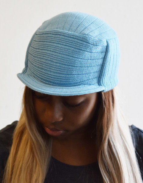 Sky Blue Knit Hat with Visor
