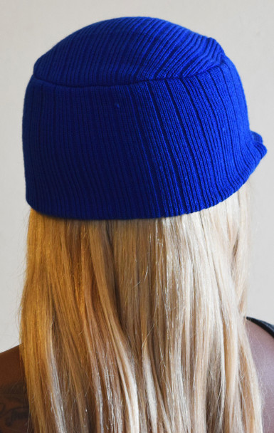 Navy Blue Knit Hat with Visor
