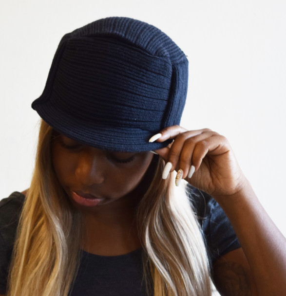 Black Knit Hat with Visor