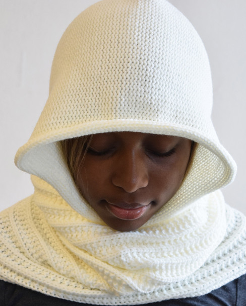Cream Knitted Hooded Scarf