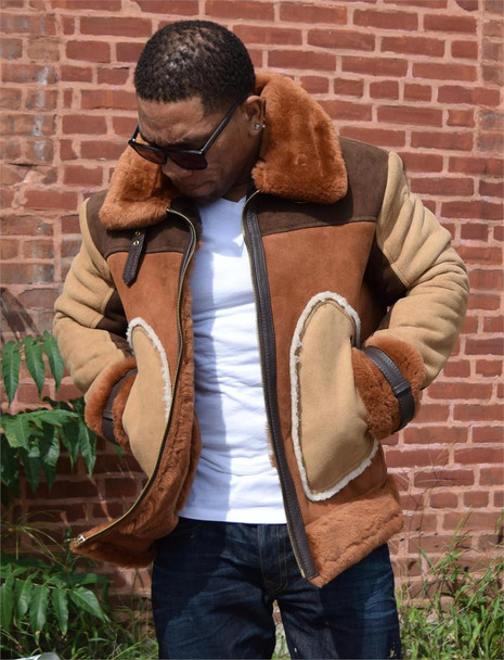 Jakewood Brown Tri Color Sheepskin Jacket
