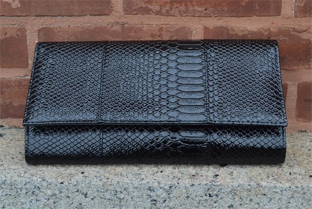 Black Snake Clutch Handbag
