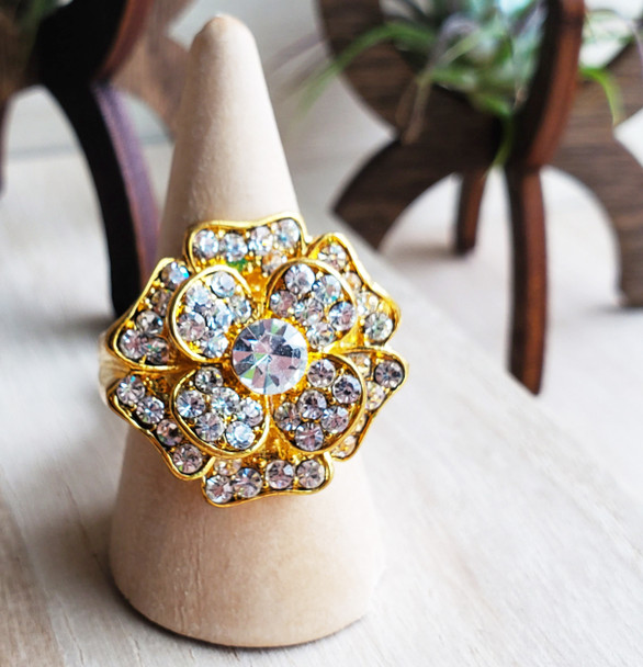 Gold Plated Flower Power CZ Ring