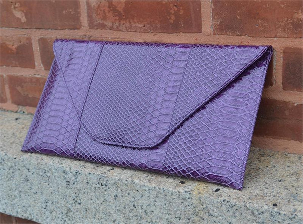 Purple Snake Clutch Handbag