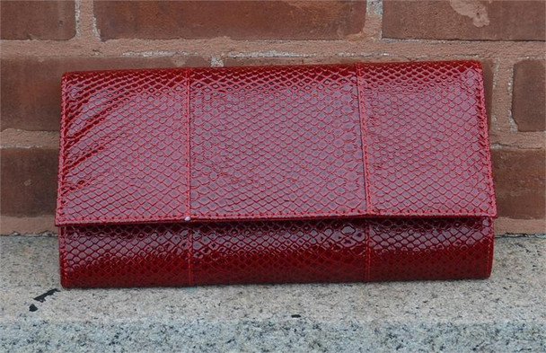 Red Snake Clutch Handbag