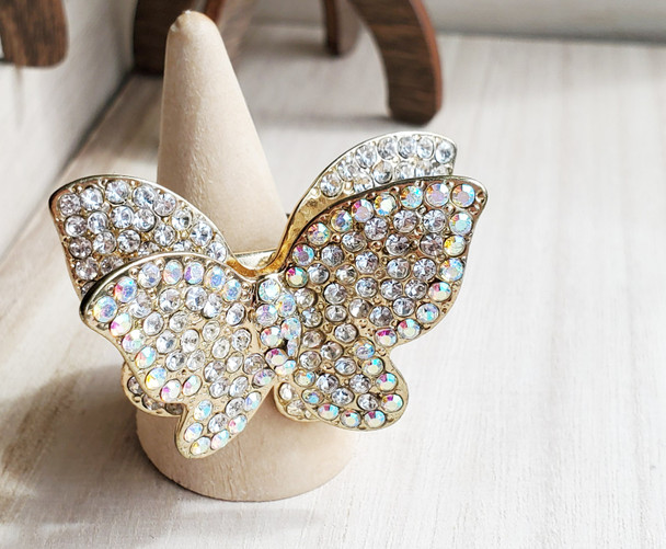 Icy Two Layered Butterfly Ladies Ring