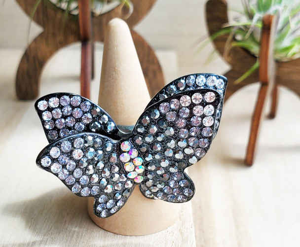 cy Two Layered Black Stoned Butterfly Ladies Ring