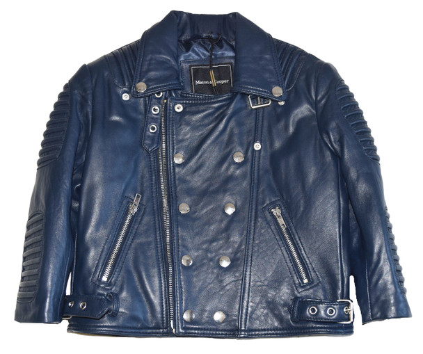 Kids Ribbed Arm Navy Blue Leather Jacket