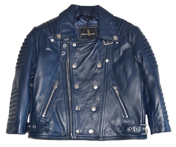 Kids Ribbed Arm Navy Blue Leather Jacket