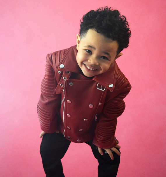Kids Ribbed Arm Red Leather Jacket