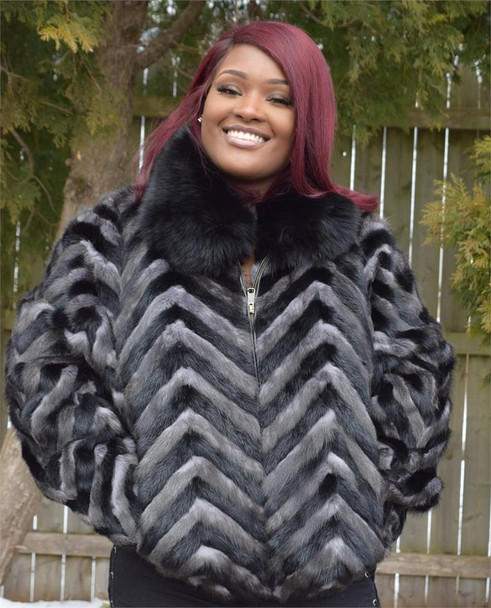 Ladies Black and Gray Chevron Mink Tails Jacket