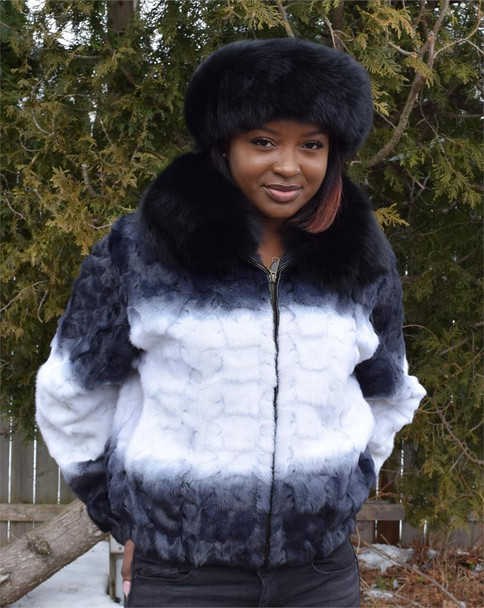 Ladies White and Black Diamond Mink Jacket with Fox Collar