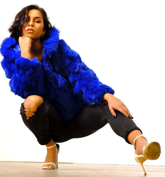 Ladies Royal Blue Rabbit Bomber Fur Jacket