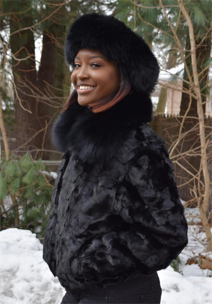 Ladies Sheared Black Diamond Mink Ladies Fur Jacket