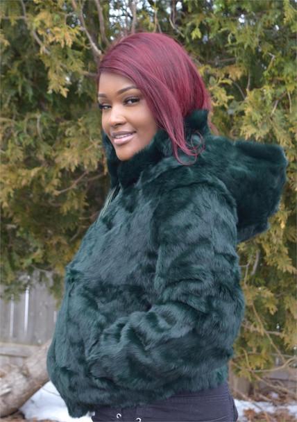 Ladies Blue Green Rabbit Bomber Fur Jacket