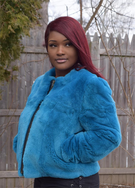 Blue Rex Rabbit Fur Coat