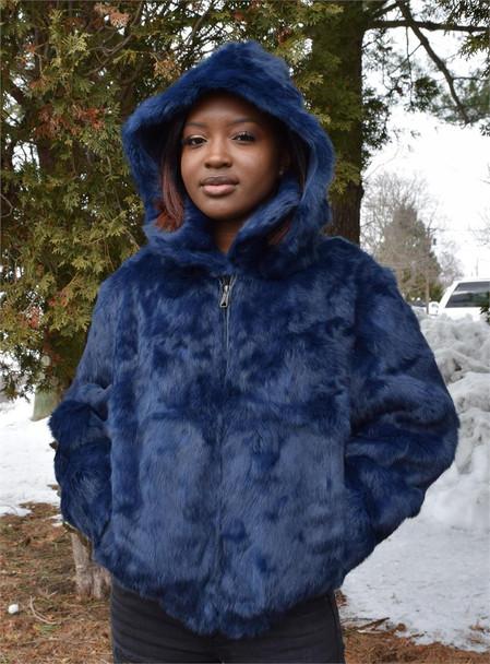 Ladies Blue Rabbit Bomber Fur Jacket