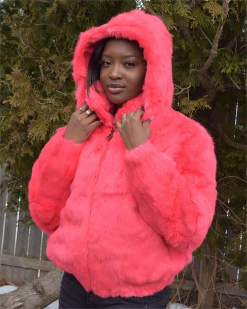 Ladies Pink Rabbit Bomber Fur Jacket