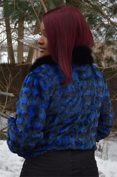 Ladies Sheared Blue Diamond Mink Ladies Fur Jacket
