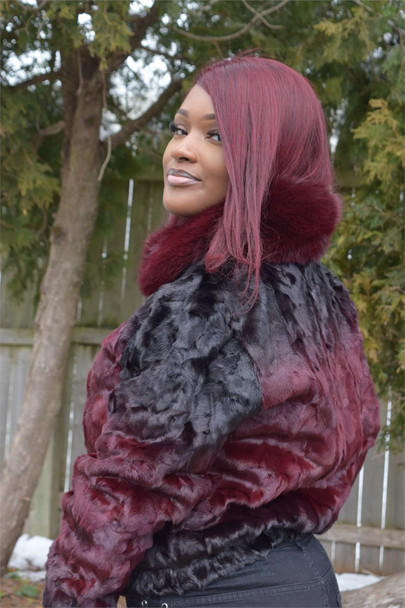 Ladies Burgandy Diamond Mink Fur Jacket