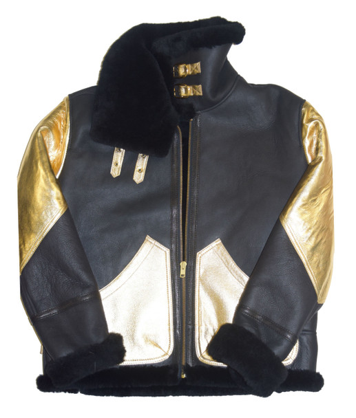 Black and Gold Sheepskin Jacket