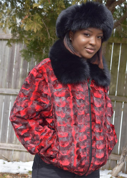 Ladies Sheared Red Diamond Mink Ladies Fur Jacket