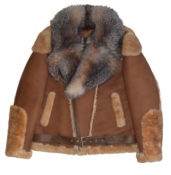 Brown Pilot Sheepskin with Fox Collar