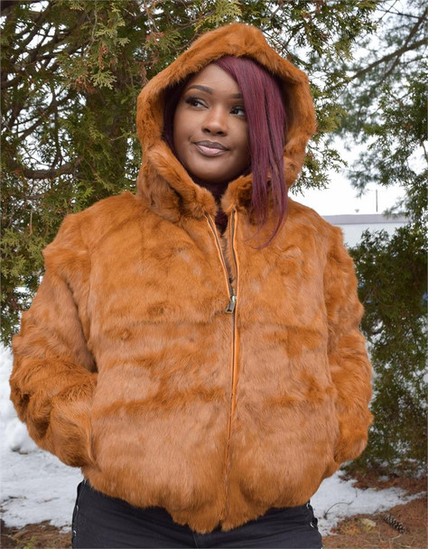 Ladies Tan Rabbit Bomber Fur Jacket
