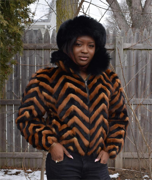 Ladies Black and Whiskey Chevron Mink Tails Jacket