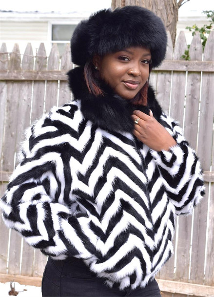 Ladies Black and White Chevron Mink Tails Jacket